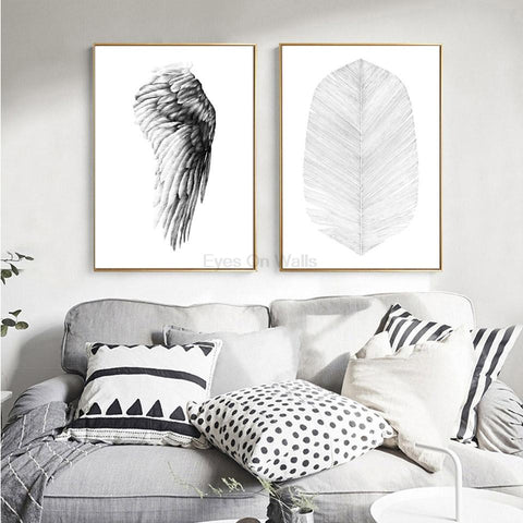 $9.39- No Frame Wings Of Angels Palm Leaf Poster Scandinavian Canvas Painting For Living Room Wall Picture Nordic Art Print Home Decor