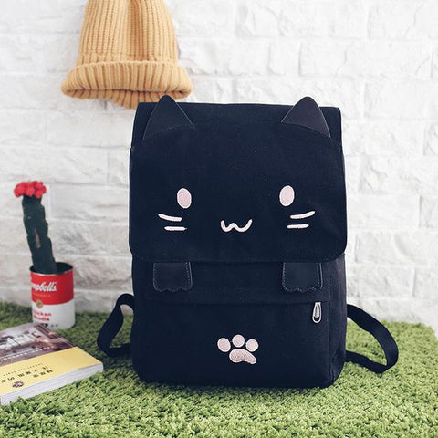 $35.14- New Casual Women Backpack Canvas School Bags For Girls Cute Cat Book Bag Printing Back Pack Big Schoolbags Black Schoolbags