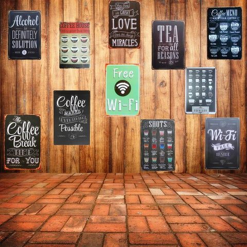 $8.62- Wifi Shabby Chic Home Bar Cafe Vintage Wall Decor Art Metal Tin Signs Pub Tavern Retro Decorative Plates Metal Poster A755
