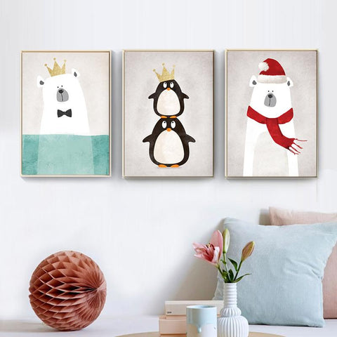 $4.16- 8 Style Modern Nordic Cute Animals Bear Hippo Penguins A4 Print Poster Kids Bedroom Wall Picture No Frame Painting Home Decor