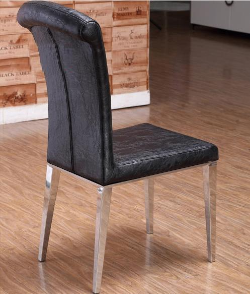 $1092.08- Fashion Classic chair Stainless steelLeather dining chairsliving room dining chairblack /white Metal Leather furniture