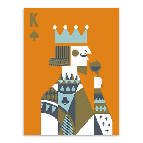 $8.25- Modern Abstract Poker King Queen Couple Love Poster Print A4 Wedding Wall Art Picture Hippie Home Decor Canvas Painting No Frame