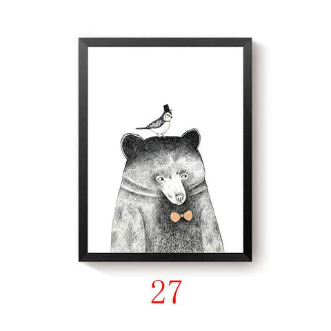 $6.21- Modern Minimalist Nordic Black White Kawaii Animals Large Art Prints Poster Kids Room Home Decor Wall Picture Canvas Painting