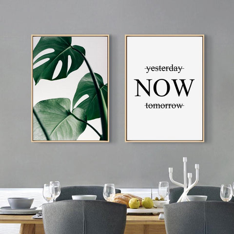 $7.56- Nordic Style Canvas Print Painting Poster Of Green Leaf Monstera Deliciosa Quoteunframed Wall Picture For Home Decoration