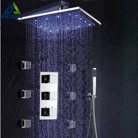 Bathroom Thermostatic Shower Panel Valve Faucets 12 Shower Head Body Massage Spray Jets