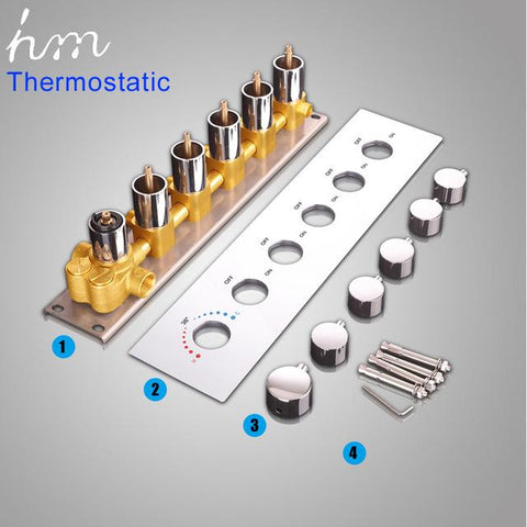 $678.83- Hm Bathroom Shower Valve Large Water Flow Shower Accessories 5 Ways Thermostatic Brass Diverter Faucet Tap Shower Controller