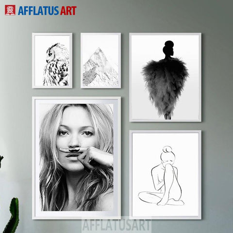 Afflatus Nordic Minimalism Fashion Girl Wall Art Print Poster Canvas Painting Wall Pictures For Living Room Decoration Painting
