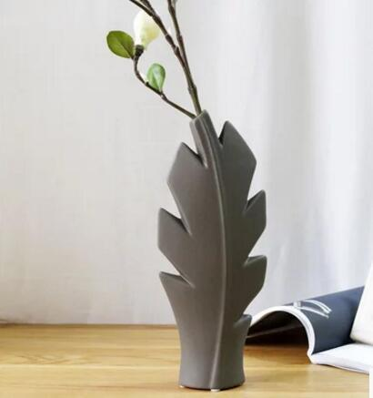 Vase Ceramic Wedding Decoration Room Living Room Leaf Flower Vase Desktop Wallpaper Flower Ornament