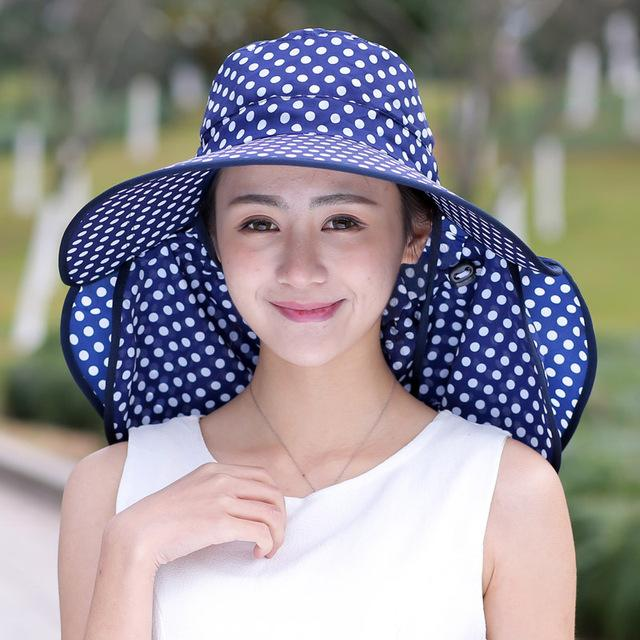 $13.40- Aovkovsa New Cotton Dot Big Eaves Summer Hats For Women Foldable Covered Face Neck Cycling Anti Uv Sun Hat Drop