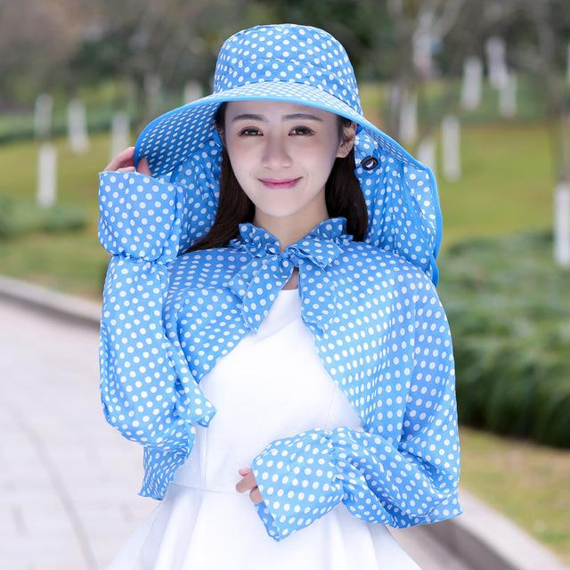 $17.92- Aovkovsa New Cotton Dot Big Eaves Summer Hats For Women Foldable Covered Face Neck Cycling Anti Uv Sun Hat Drop