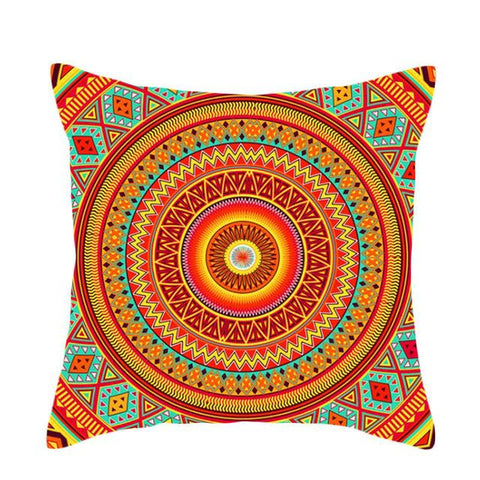$3.78- Nordic Christmas Pillow Case Sofa Cushion Cover Fashion Geometry Retro Polyester Bohemia Colorful Flowers Home Decor 18X18