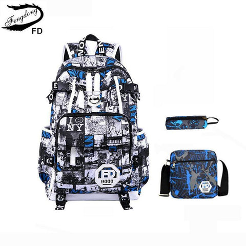 $78.98- Fengdong 3 Pcs Set Kids School Backpack Children School Bags For Boys Blue Pen Pencil Case Male Shoulder Bag For Laptop Notebook