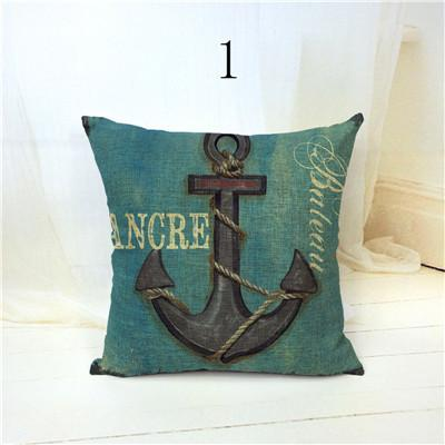 "$7.11- 18X18"" Marine Coastal Decoration Sea Blue Compass Burlap Cushion Cover Throw Pillowcase With Red Anchor"