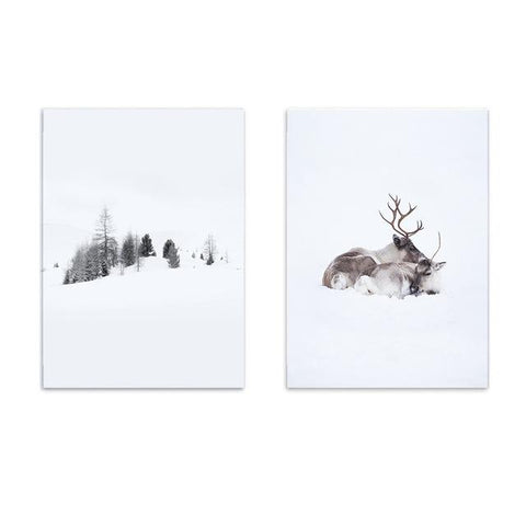 900D Posters Prints Wall Art Canvas Painting Wall Pictures Nordic Winner Forest Deer Picture Decoration Nor019