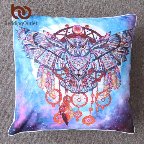 $11.17- Beddingoutlet Dream Catcher W/ Feathers Cushion Cover Watercolor Bohemia Pillow Cover Boho Pillowcase No Fade Super Soft 2Size