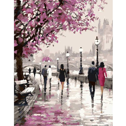 Frameless Cherry Blossoms Road Diy Oil Painting By Numbers Kits Wall Art Picture Home Decor Acrylic Paint On Canvas For Artwork