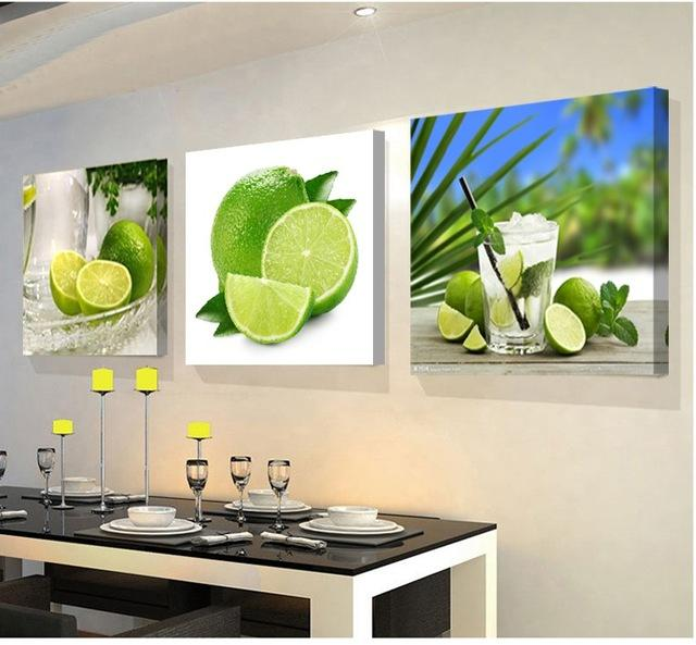 $13.55- Modular Pictures 3 Panels Paintings For The Kitchen Fruit Wall Decor Modern Canvas Art Wall Picture For Living Room Descora