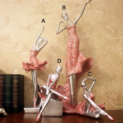 $33.59- Ermakova Pink Resin Lady Statue Ballerina Figurine In Pink Dress Dancer Ornaments Dancing Girl Home Wedding Decor Gift