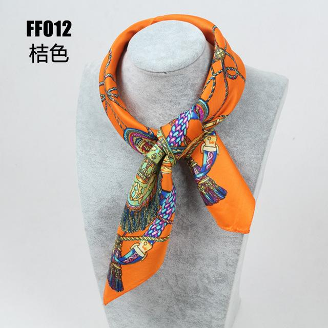 $6.88- 100% Silk Scarf Women Square Scarf Neckerchief Foulard Top Silk Bandana Small Square Silk Scarf High Quality FF012