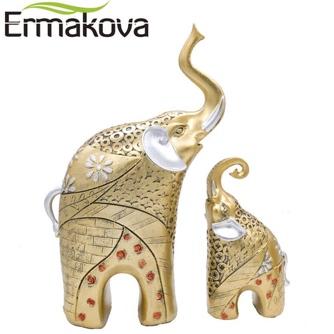 $48.49- Ermakova 2 Pcs/Pair Vintage Golden Resin Mother&Child Elephant Statue Animal Figurine Sculpture Garden Home Wedding Decor Gift