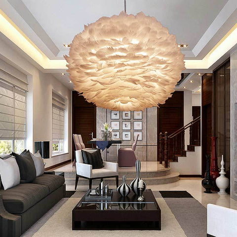 $192.39- Nordic Design Pendant Light White Feather Hanging Lamp Modern Dinning Room Kitchen Loft Decor Home Lighting Fixtures 110240V