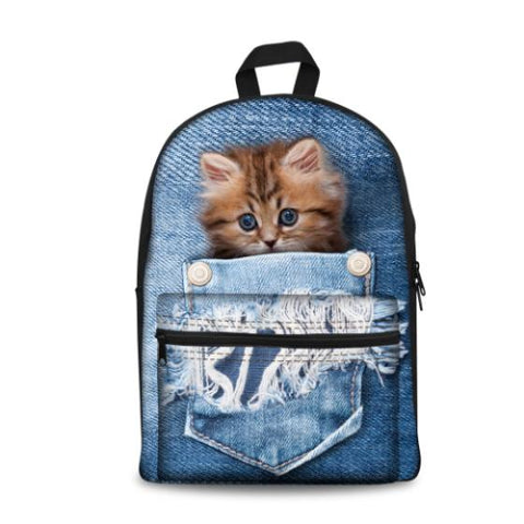 $43.18- New Kawaii Animal Cat Backpack For Girls Fashion Children School Bag Cute Dog Backpack Cat Face Kids School Backpack