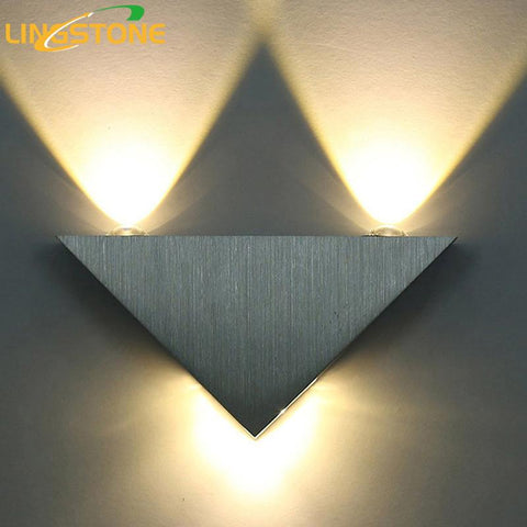 $18.73- Modern Led Wall Lamp 3W Aluminum Body Triangle Wall Light For Bedroom Home Lighting Luminaire Bathroom Light Fixture Wall Sconce
