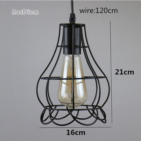 $35.18- Vintage Loft Pendant Lights W/ Metal Cage Lampshade Nordic Warehouse Kitchen Pendant Lighting Fixtures E27 Hanging Lamp