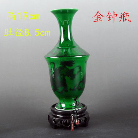 $49.50- Antique Green Color Glazed Porcelain Flower Vases Handmade Household Furnishing Articles W/ Patterns Porcelain Vase