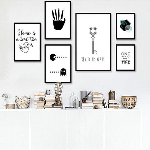 $12.86- Minimalist Nursery Canvas Painting Black White Posters Prints Cartoon Nordic Art Pop Wall Pictures For Kids Children Room Decor