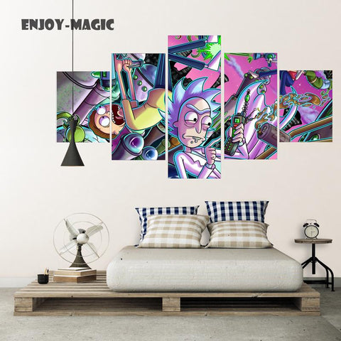 $18.62- Home Decor Canvas Poster Rick Morty Painting Wall Art Modern 5 Piece Oil Painting Picture Panel Print Unframed Canvas A033