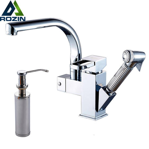 $93.93- Bright Chrome Swivel Spout Kitchen Sink Faucet Deck Install Pull Out Bathroom Kitchen Mixer Tap 220Ml Soap Dispenser