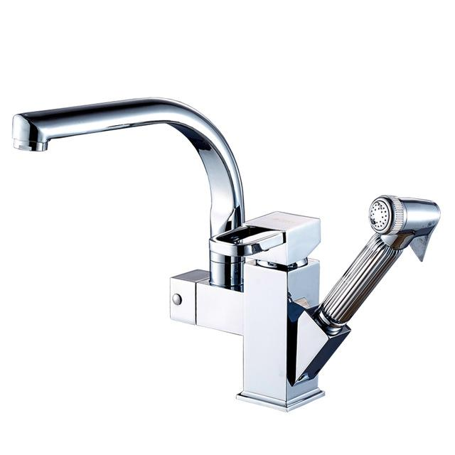 Buy Bright Chrome Swivel Spout Kitchen Sink Faucet Deck Install Pull ...
