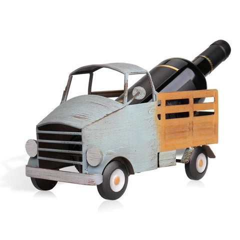 Tooarts Pickup Truck Wine Rack Bar Cabinet Metal Wine Holder Sculpture Home Decoration Whiskey Bottle Rack Crafts