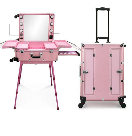 $621.64- Professional Artist Studio Makeup Case Cosmetic Train Table w/4 Rolling Wheels & Lights & Mirror Makeup Portable Table Dresser