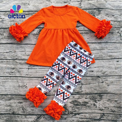 $43.18- Aicton Ruffle Baby Clothes Fall Winter Thanksgiving Boutique Baby Clothes Turkey Children Clothes Set