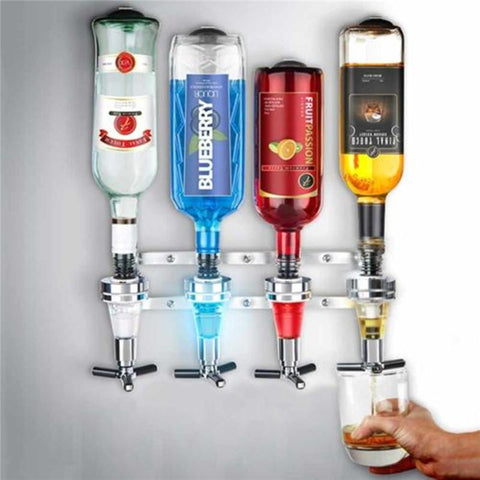4 Bottle Bar Beverage Liquor Dispenser Alcohol Drink Shot Cabinet Wall Mounted W/ 6 Screws
