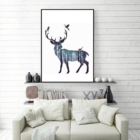 $6.52- Abstract Wall Pictures Deer Pine Forest Nordic Natural Living Room Art Decoration Picture Scandinavian Canvas Painting No Frame