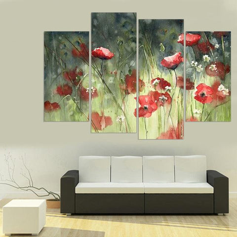 $28.82- Frameless Flower Print On Canvas Wall Painting Art Print Poster Home Decoration Oil Painting Picture For Living Room 4Pcs