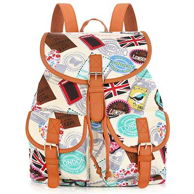 Sansarya 31 Colors Female Vintage Rucksack Printing Canvas Women Backpack Bohemian Grils School Bag Sac A Dos Drawstring Bag
