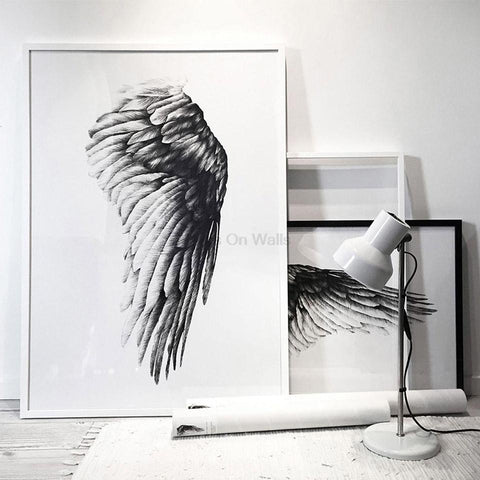$9.39- No Frame Angel Wings Poster Scandinavian Canvas Painting For Living Room Wall Picture Black White Print Nordic Art Home Decor