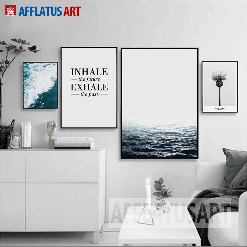 $8.72- Afflatus Nordic Minimalism Sea Landscape Quotes Wall Art Print Poster Canvas Painting Wall Pictures For Living Room Home Decor
