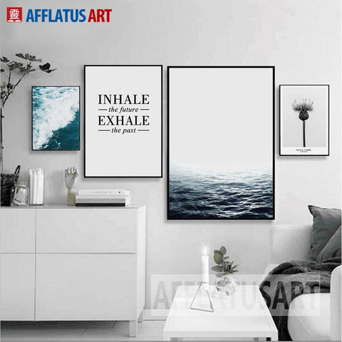 Afflatus Nordic Minimalism Sea Landscape Quotes Wall Art Print Poster Canvas Painting Wall Pictures For Living Room Home Decor