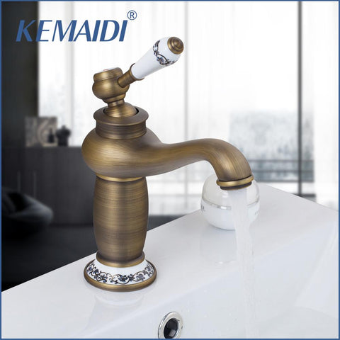 KEMAIDI RU Antique Bronze Bathroom Faucet Deck Mounted Hot Cold Faucet Washbasin Mixer Sink Faucet Mixer Tap