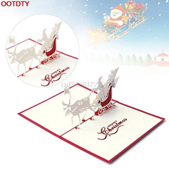$2.27- Card Christmas Decorations 3D Pop Up Holiday Greeting Cards Santa'S Sleigh Deer Thanksgiving Gift #H0Vh#