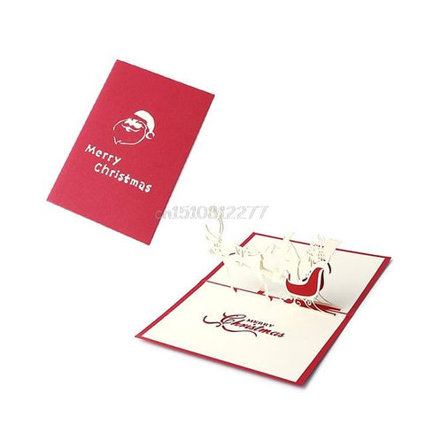 $2.01- Card Christmas Decorations 3D Pop Up Holiday Greeting Cards Santa'S Sleigh Deer Thanksgiving Gift #H0Vh#