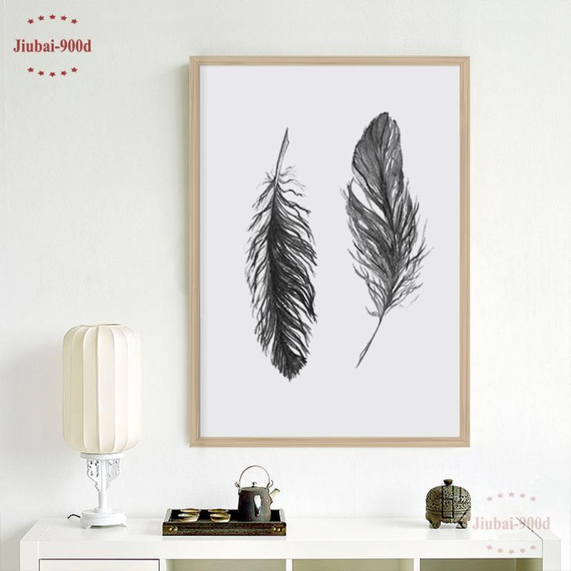 $11.69- 900D Watercolor Black Feather Canvas Art Print Poster Wall Pictures For Home Decoration Giclee Wall Decor S16053