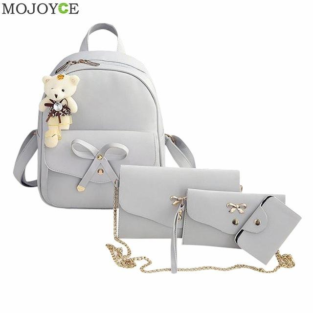 $28.55- 4Pcs Preppy Chic Women Leather Backpack Bowknot Backpack Set Pu Shoulder Bag Clutch Bag Chic School Bags Mochilas Escolar