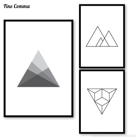 $10.64- Geometric Triangle Wall Pictures Poster Wall Art Posters Prints Nordic Black White Minimalist Canvas Print Decoration