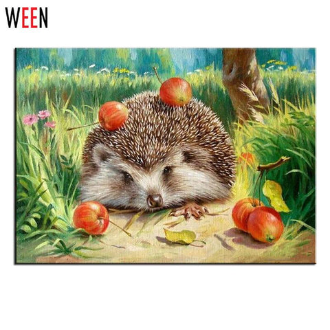 $15.30- Ween Oil Hedgehog Painting By Numbers Wall Pictures For Living Room Animal Cuadros Canvas Diy Digital Art Home Decor Child Gift